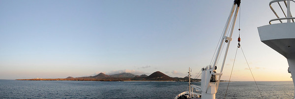 The RMS St. Helena lies at anchor off Ascension Island, South Atlantic Ocean.