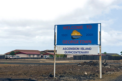 Sign, Georgetowm capital of Ascension Island, South Atlantic Ocean.