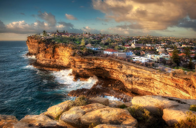 Sunrise hits the cliffs at Watson's Bay, Australia - HDR.