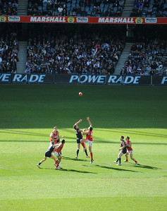 Carlton v. Melbourne, Aussie rules football.