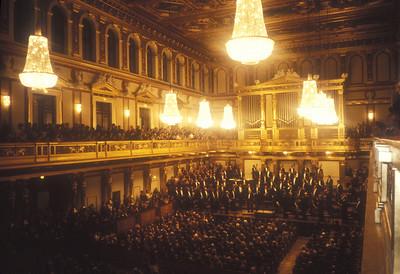 The Vienna Philharmonic Orchestra with Mstislav Rostropovich at the Musikverein, Vienna, Austria.