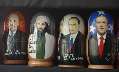 Matryoshka Dolls, Lenin, bin Laden, Putin, Bush, Baku, Azerbaijan.