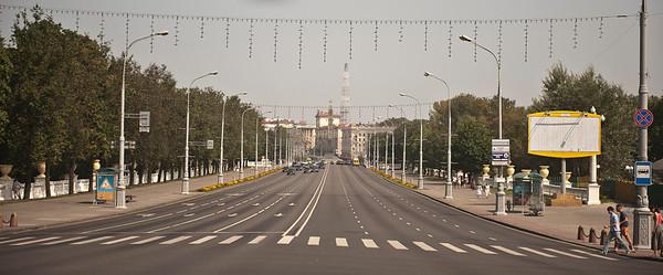 The wide boulevard Prospekt Nezavisimosti, main street in Minsk, Belarus.