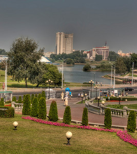 HDR: Park in Old Town and the River Svisloch, Minsk, Belarus.
