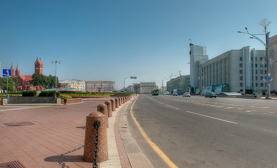 Independence square and underground mall, left, Minsk, Belarus.
