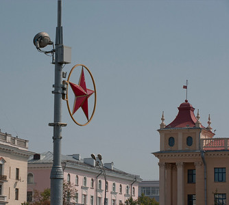 Red star on Victory Square, Minsk, Belarus.