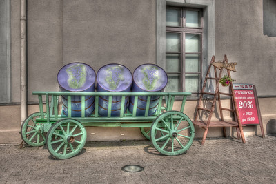 Barrels in a cart near a bar. Minsk, Belarus.