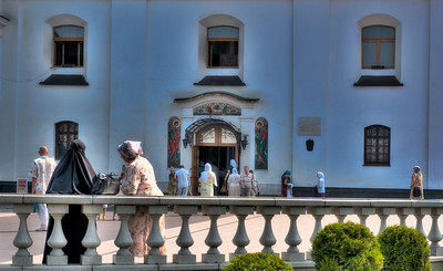 HDR: Women outside the Orthodox Cathedral of the Holy Spirit, Minsk, Belarus.
