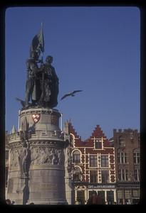 Statue of the heroes of the 1302 battle of the Golden Spurs, Jan Breydel and Pieter De Koninck, Bruges, Belgium.