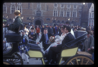Wedding procession, Bruges, Belgium.