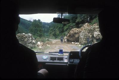 Blasting a landslide, Bhutan.