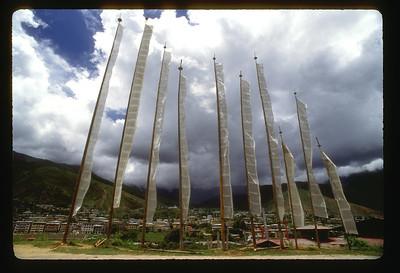Prayer flags above Thimpu, Bhutan.