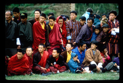 Audience at an archery match, Thimpu, Bhutan.