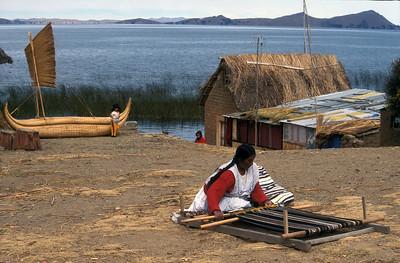 Weaving, Lake Titicaca, Bolivia.