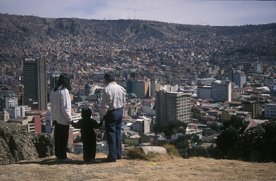 Family overlooking La Paz, Bolivia.