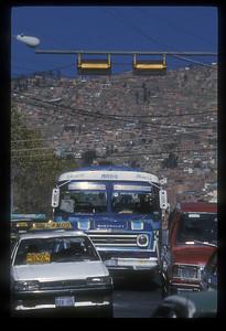 Traffic in La Paz, Bolivia.