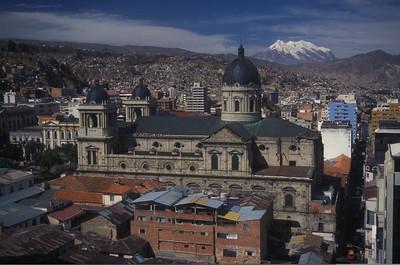 Mt. Illimani and La Paz, Bolivia.