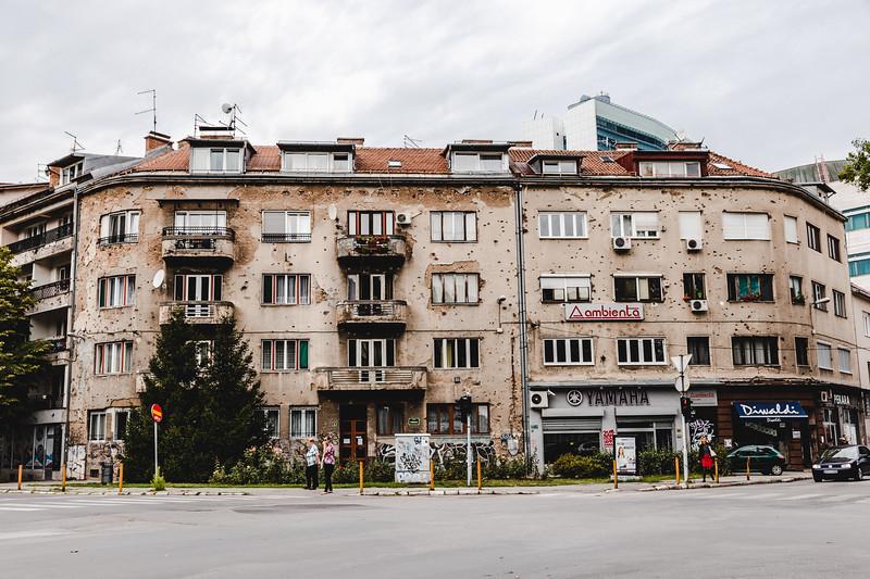 Battered Corner Building