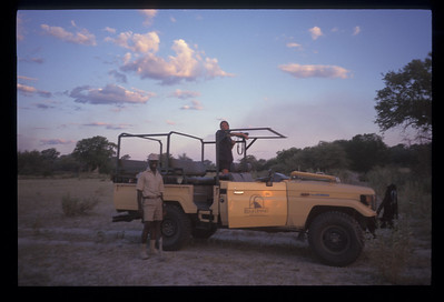 Safari vehicle, Okavango delta region of Botswana.