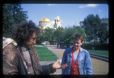 Street musician would like a donation. Sophia, Bulgaria.