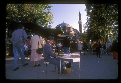 Street vendor outside Mosque, downtown Sofia, Bulgaria.