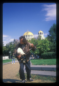 Street musician plays bagpipes, Sophia, Bulgaria.
