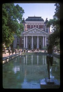 Opera House and pool, Sofia, Bulgaria.