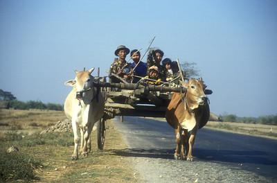 Local transport, near Syriam, rural Burma.