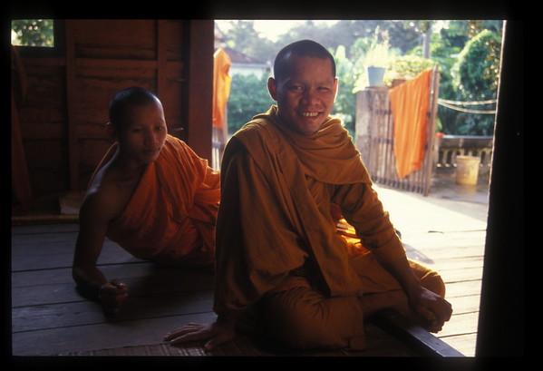 Monks at monastery, Angkor Wat, Cambodia.