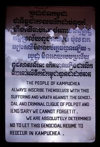 Sign at memorial, Phnom Penh, Cambodia.