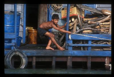 Business in a stilt village on Lake Tonle Sap, Cambodia.