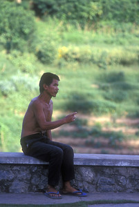 Man making his point near Angkor Wat, Cambodia.