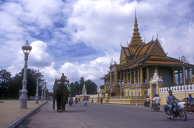 Royal compound and elephant, Phnom Penh, Cambodia.