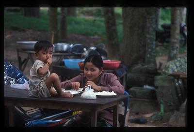 Lunch at food stalls outside Angkor Wat, Cambodia.