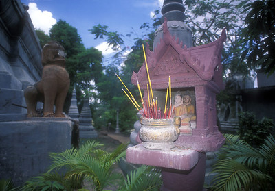 Stupas in park, Phnom Penh, Cambodia.