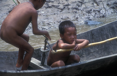 Children play on the shore of Lake Tonle Sap, Cambodia.