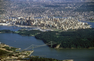 Aerial view of Vancouver, British Columbia, Canada.