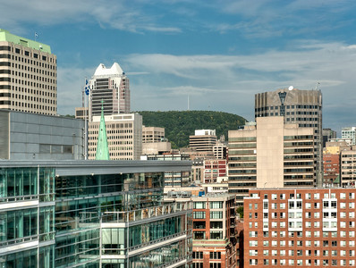 The Montreal, Quebec, Canada skyline. That's Mount Royal back there.