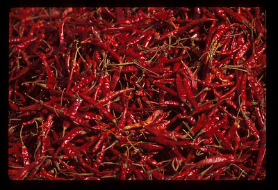 Chillies in food market, Dali, China.