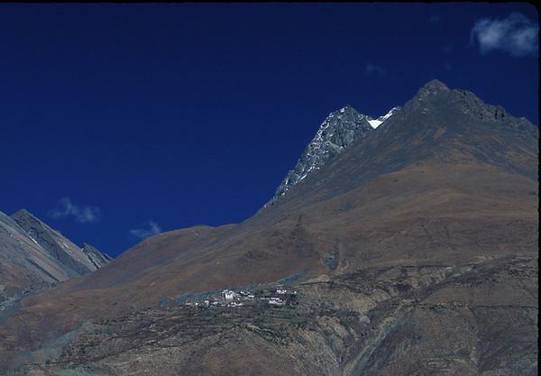 Detail of mountain village, rural Tibet.