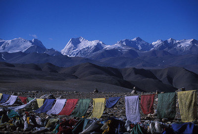 Prayer flags at Lalung Leh pass, 5050 meters (16570 feet) in the Himalayas, Tibet.