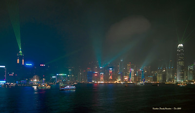 Light show, Hong Kong, China skyline, Christmas season.