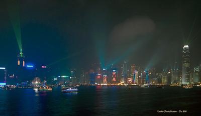 Light show, Hong Kong, China skyline, Christmas season.