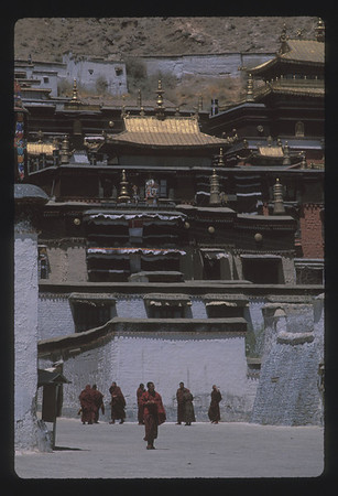 Monks at Tashilumpo Monastery, Shigatse, Tibet.