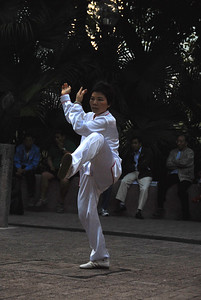 Woman at Tai Chi exhibition, Kowloon, China.