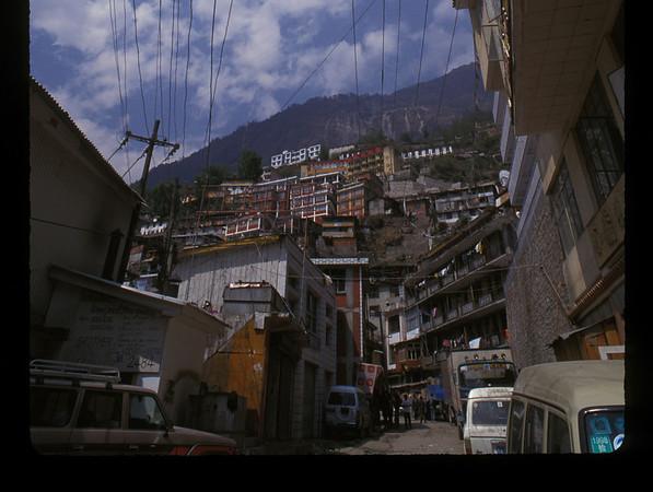 Detail of Khasa (Nepali), Dram (Tibetan) or Zhangmu (Chinese), town on the Tibetan side of the Tibetan/Nepali border.