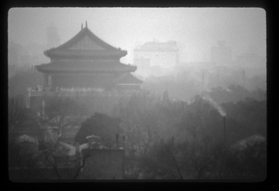 Forbidden City in black and white, Beijing, China.