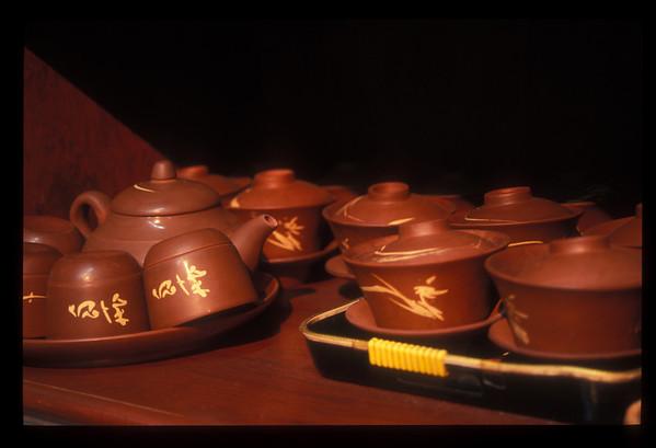 Tea service, roadhouse outside Beijing, China.