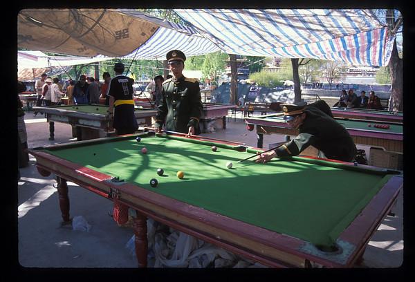 Military billiards, Lhasa, Tibet.