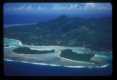 Aerial view of downtown Rarotonga, Cook Islands.